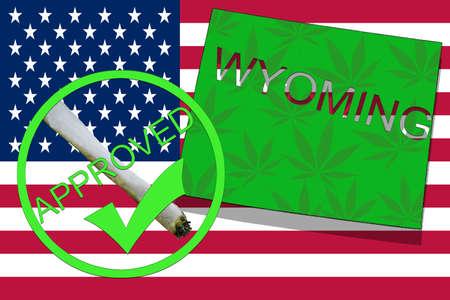 Wyoming State on cannabis background. Drug policy. Legalization of marijuana on USA flag, Stock Photo