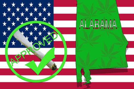 alabama state: ALABAMA State on cannabis background. Drug policy. Legalization of marijuana on USA flag, Stock Photo
