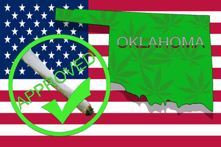 narcotic: Oklahoma State on cannabis background. Drug policy. Legalization of marijuana on USA flag,