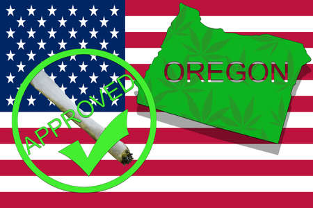 narcotic: Oregon State on cannabis background. Drug policy. Legalization of marijuana on USA flag,