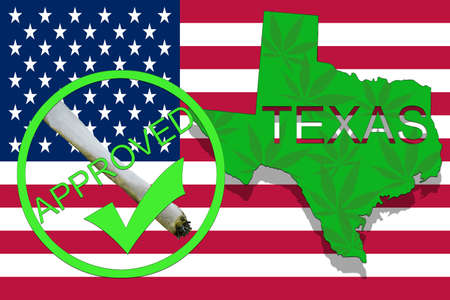 Texas  State on cannabis background. Drug policy. Legalization of marijuana on USA flag,