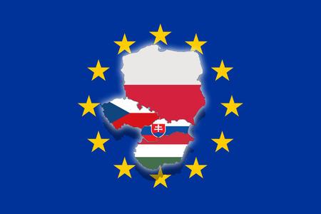 visegrad: V4 Visegrad group on Euro flag, Poland, Czech Republic, Slovakia, Hungary