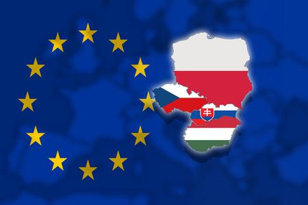 visegrad: V4 Visegrad group on blured Europe background and Euro flag, Poland, Czech Republic, Slovakia, Hungary Stock Photo