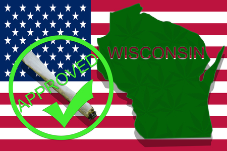 wisconsin state: Wisconsin State on cannabis background. Drug policy. Legalization of marijuana on USA flag,