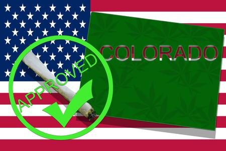 colorado flag: Colorado on cannabis background. Drug policy. Legalization of marijuana on USA flag,