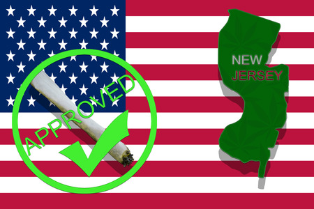 New Jersey State on cannabis background. Drug policy. Legalization of marijuana on USA flag,