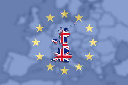 territory: United Kingdom map with flag on Euro Union and Europe background Stock Photo