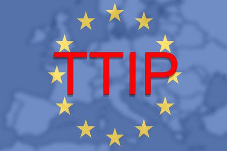 investment real state: TTIP - Transatlantic Asociación de Comercio e Inversión en el fondo Euro Unión Europa Foto de archivo