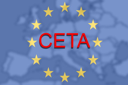 comprehensive: CETA - comprehensive economic and trade agreement on Euro Union and Europe map