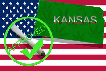 drug dealers: Kansas on cannabis background. Drug policy. Legalization of marijuana on USA flag,