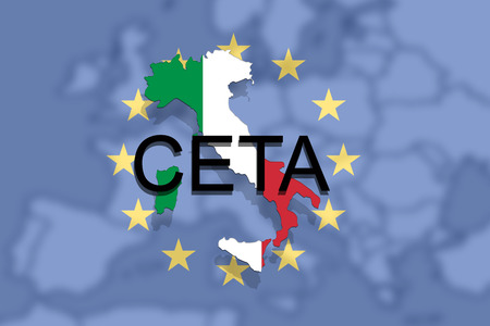 CETA - comprehensive economic and trade agreement on Euro Union and Italy map