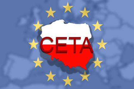 CETA - comprehensive economic and trade agreement on Euro Union and Poland map