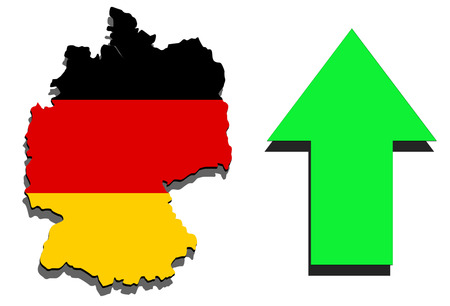 Germany map on white background and green arrow rising Stock Photo