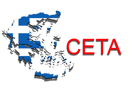 comprehensive: CETA - comprehensive economic and trade agreement on white background, Greece map Stock Photo