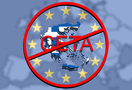 comprehensive: anty CETA - comprehensive economic and trade agreement on Euro Union background, Greece map