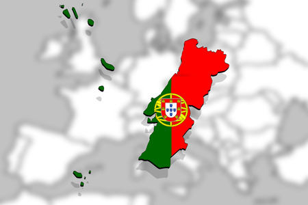 close up on Portugal map Europe backgound