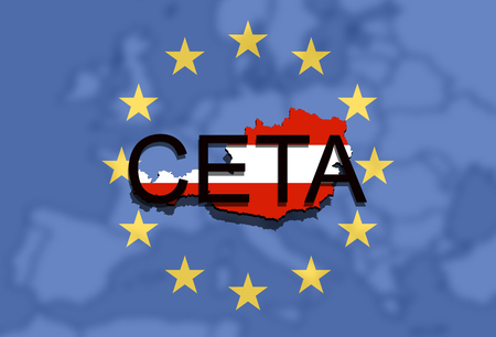 comprehensive: CETA - comprehensive economic and trade agreement on Euro Union background, Austria map