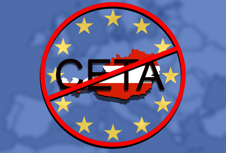 comprehensive: anty CETA - comprehensive economic and trade agreement on Euro Union background, Austria map