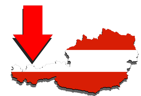 austria map: Austria map on white background and red arrow down