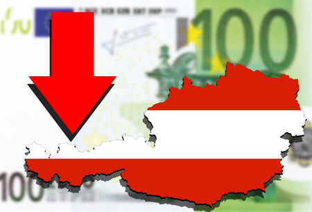 austria map: Austria map on Euro money background and red arrow down
