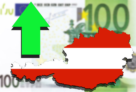 austria map: Austria map on Euro money background and green arrow up
