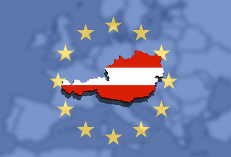 austria map: close up on Austria map on Euro Union and Europe background