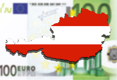 austria map: close up on Austria map on Euro money background