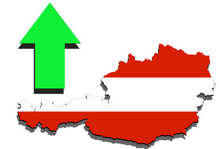Austria map on white background and green arrow up Stock Photo