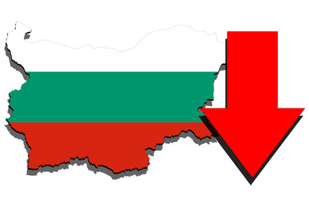 Bulgaria map on white background and red arrow down Stock Photo