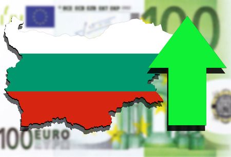 Bulgaria map on Euro Money background and green arrow up