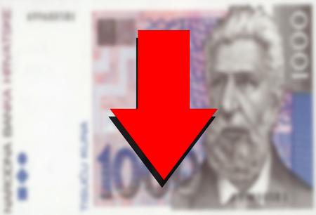 Croatian Kuna money and red arrow down