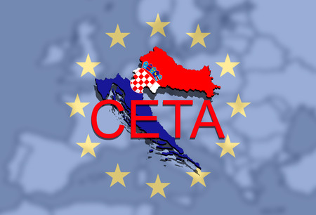 comprehensive: CETA - comprehensive economic and trade agreement on Euro Union backgound, Croatia map