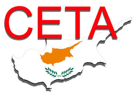 CETA - comprehensive economic and trade agreement on white backgound, Cyprus map