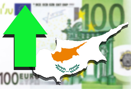 Cyprus map on Euro money background and green arrow up