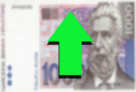croatian: Croatian Kuna money and green arrow up Stock Photo
