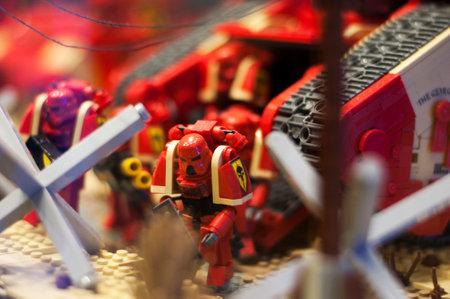 warhammer: Wroclaw, POLAND - January 25, 2014: Warhammer made by Lego blocks.