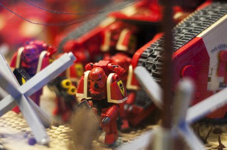 Wroclaw, POLAND - January 25, 2014: Warhammer made by Lego blocks.