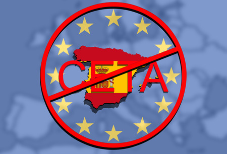 anty CETA - comprehensive economic and trade agreement on Euro Union background, Spain map