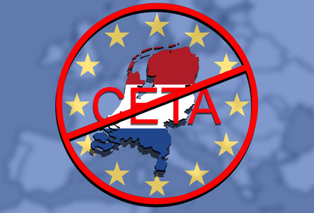 comprehensive: anty CETA - comprehensive economic and trade agreement on Euro Union background, Holland map