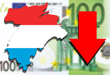 Luxembourg map on Euro money background and red arrow down Stock Photo