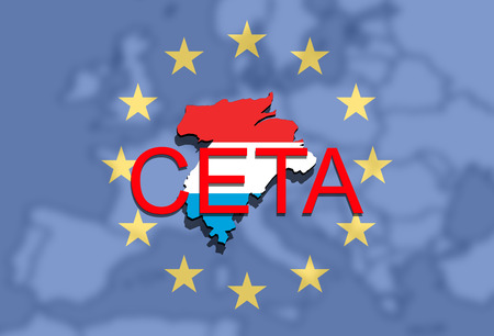 CETA - comprehensive economic and trade agreement, Luxembourg map on Europe background
