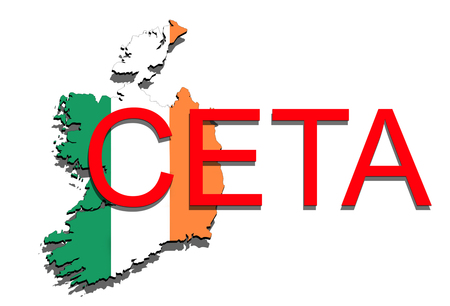 comprehensive: CETA - comprehensive economic and trade agreement on white background, Ireland map Stock Photo