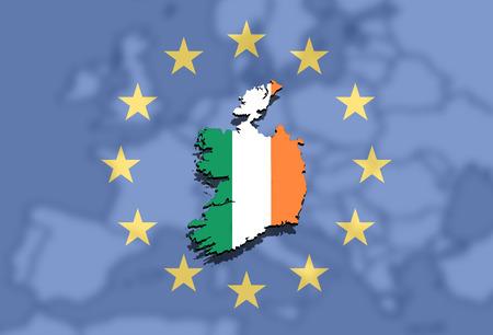 close up on Ireland map on Europe and Euro Union background