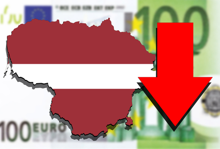 Lithuania map on Euro money background and red arrow down