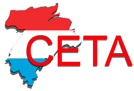 comprehensive: CETA - comprehensive economic and trade agreement, Luxembourg map on white background Stock Photo