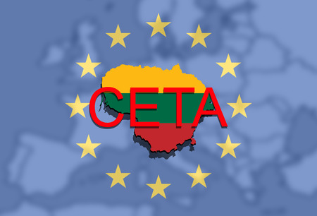 comprehensive: CETA - comprehensive economic and trade agreement on Euro background, Lithuania map Stock Photo