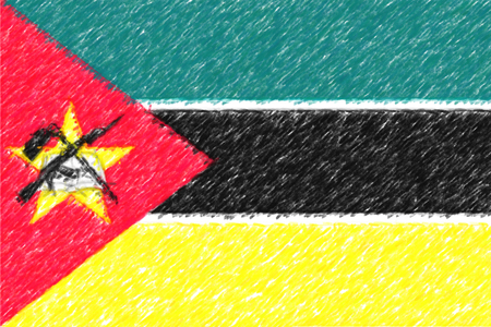 Flag of Mozambique background o texture, color pencil effect.