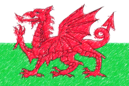 Flag of Wales background o texture, color pencil effect. Stock Photo
