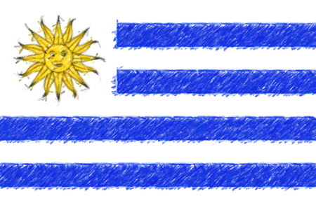 Flag of Uruguay background o texture, color pencil effect. Stock Photo