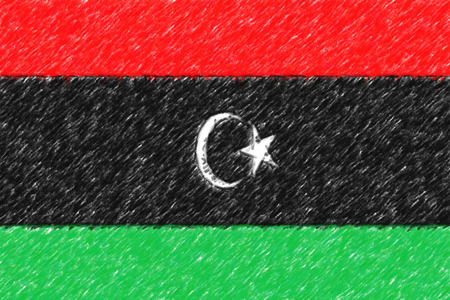Flag of Libya background o texture, color pencil effect.